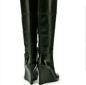 Tory burch linette wedge black boots